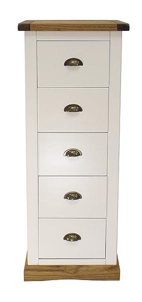 Armadio, cassettiera con  cassetti con maniglia in ottone/smussata, gonna, legno, bianco