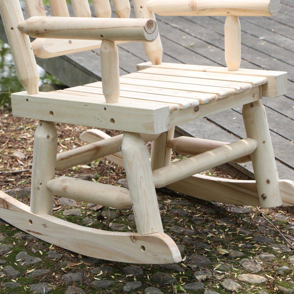 VH FURNITURE Wood Rocking Chair Single Porch Rocker Natural Design Outdoor And Indoor Use For Porch And Patio, Fir Wood