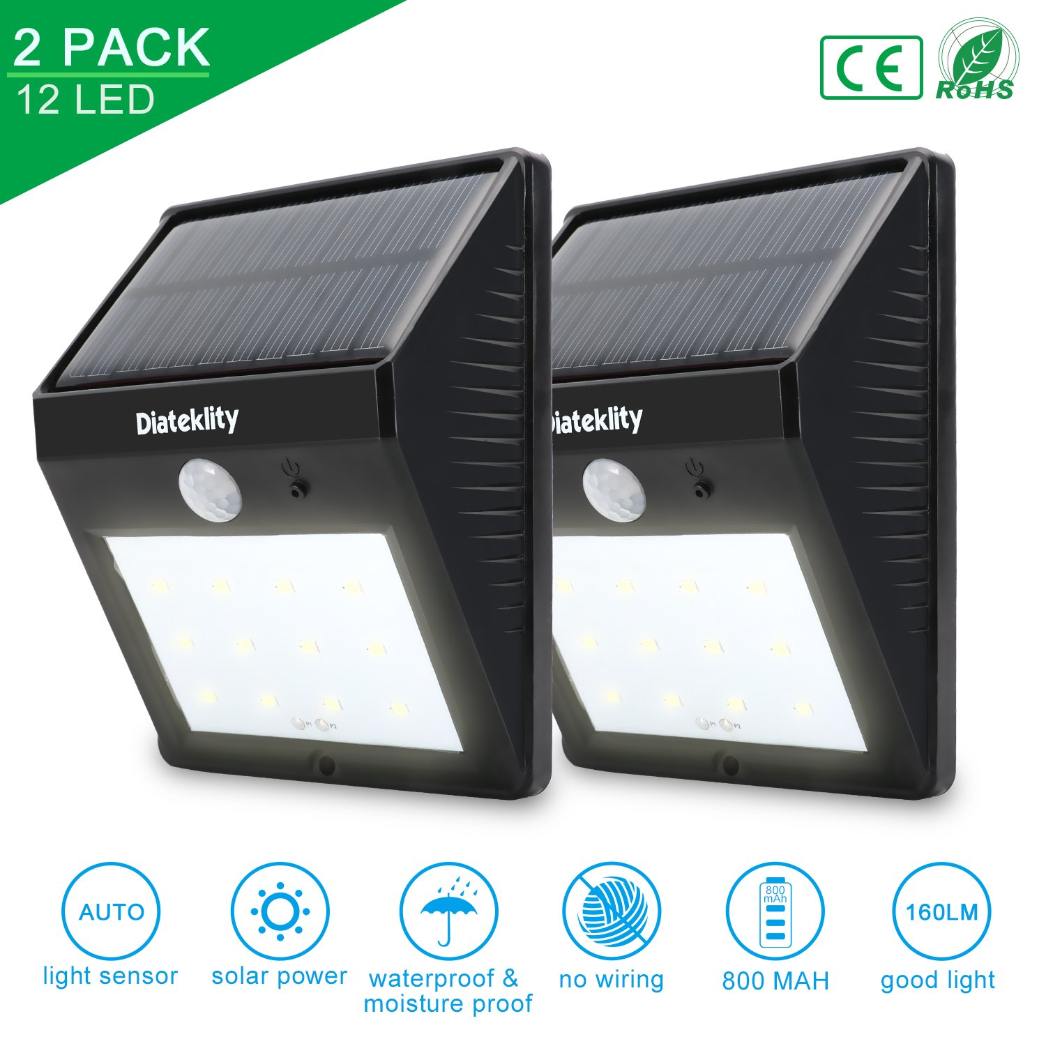 Solar Motion Sensor Lights, Diateklity Super Bright Outdoor 12 LED Solar Powered Waterproof Wireless Security Light for Garden, Deck, Yard, Driveway, Stairs Auto On / Off -No Tools Required (2PCS)