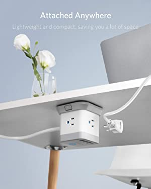BESTEK Power Strip with USB, Vertical Cube Mountable Power Outlet Extender with 3 Outlets, 3 USB & 1 Type-C Ports, 5-Foot Extension Cord and Detachable Base for Easy Mounting (Color: white)