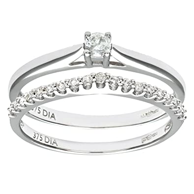 Naava 9ct White Gold 0.25ct Diamond Bridal Set Wishbone Ring