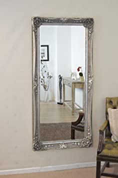 Beautiful Silver, Ornate Wall Mirror 5ft8 X 2ft8 (173cmX 81cm)
