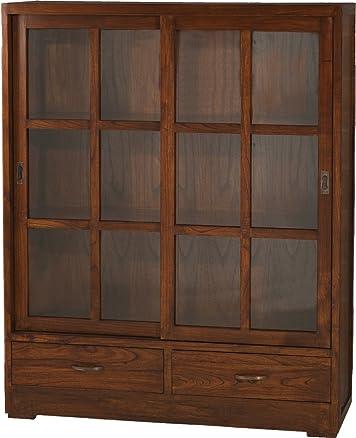 Nomadi Design 501042Libreria con 2cassetti/2ante vetrate scorrevoli legno/compensato 39x 120x 150cm
