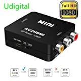RCA to HDMI, AV to HDMI,Udigital 1080P Mini RCA Composite CVBS AV to HDMI Video Audio Converter Adapter Supporting PAL/NTSC with USB Charge Cable( PC Xbox PS4 PS3 TV STB VHS VCR Camera DVD N64) (Color: rca to hdmi black, Tamaño: mini size)