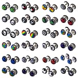 Shuning 24pcs Cheater Fake Ear Plugs Satinless Steel Gauges Illusion Tunnel Piercing Stud Screw Earrings 12Style