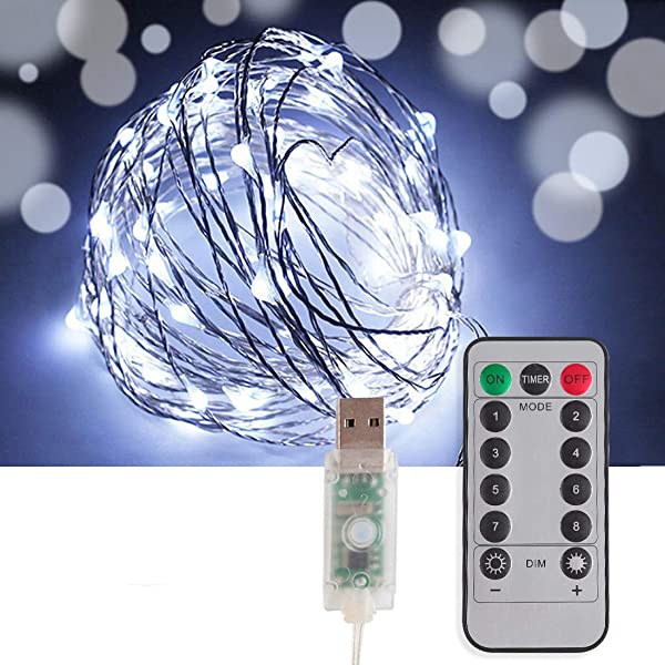 Vetoo LED Fairy String Lights,33Ft 100 LED Waterproof Copper Wire USB Plug-in with 8 Lighting Modes Remote,Starry Twinkle Rhythmic Fairy Lights for Bedroom Indoor Garden Outdoor (White)