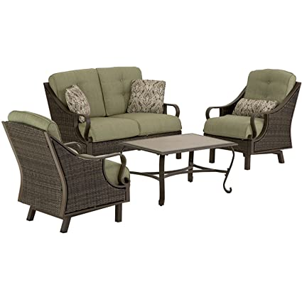 Hanover VENTURA4PC Ventura 4-Piece Indoor/Outdoor Lounging Set, Includes Wicker Loveseat, 2 Lounge Chairs and Coffee Table