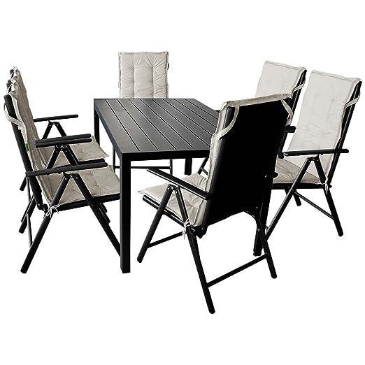 13tlg. Sitzgruppe Gartentisch, Polywood Tischplatte, 150x90cm + 6x Hochlehner, Textilenbespannung, Ruckenlehne um 7 Positionen verstellbar, klappbar + 6x Stuhlauflage, beige Sitzgarnitur Gartengarnitur Gartenmöbel Terrassenmöbel Set