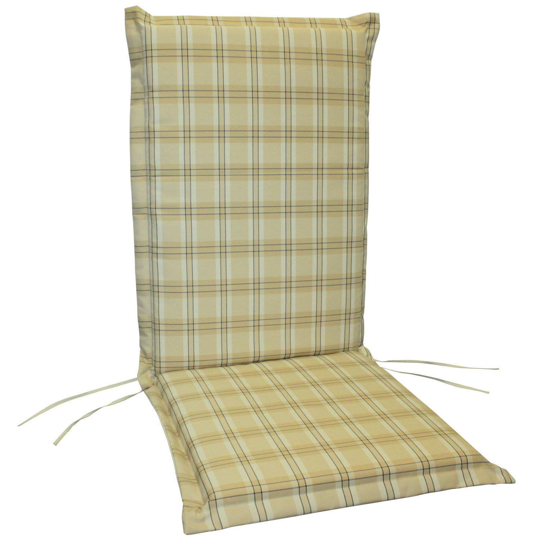 indoba® IND-70411-AUHL-6 – Serie Comfort – Gartenstuhl Auflagen – Hochlehner, Beige, kariert, 6 Stück online kaufen