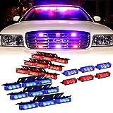 DT MOTO™ Blue Red 54X LED Police Vehicle Dash Deck Grille Strobe Warning Lights - 1 set (Color: Blue/Red)