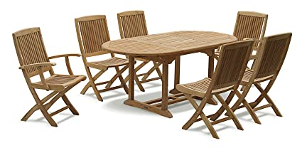 Curzon Teak Garden Dining Set - Extending Table, 2 Arm chairs and 4 Side Chairs (fully assembled) - Jati Brand, Quality & Value