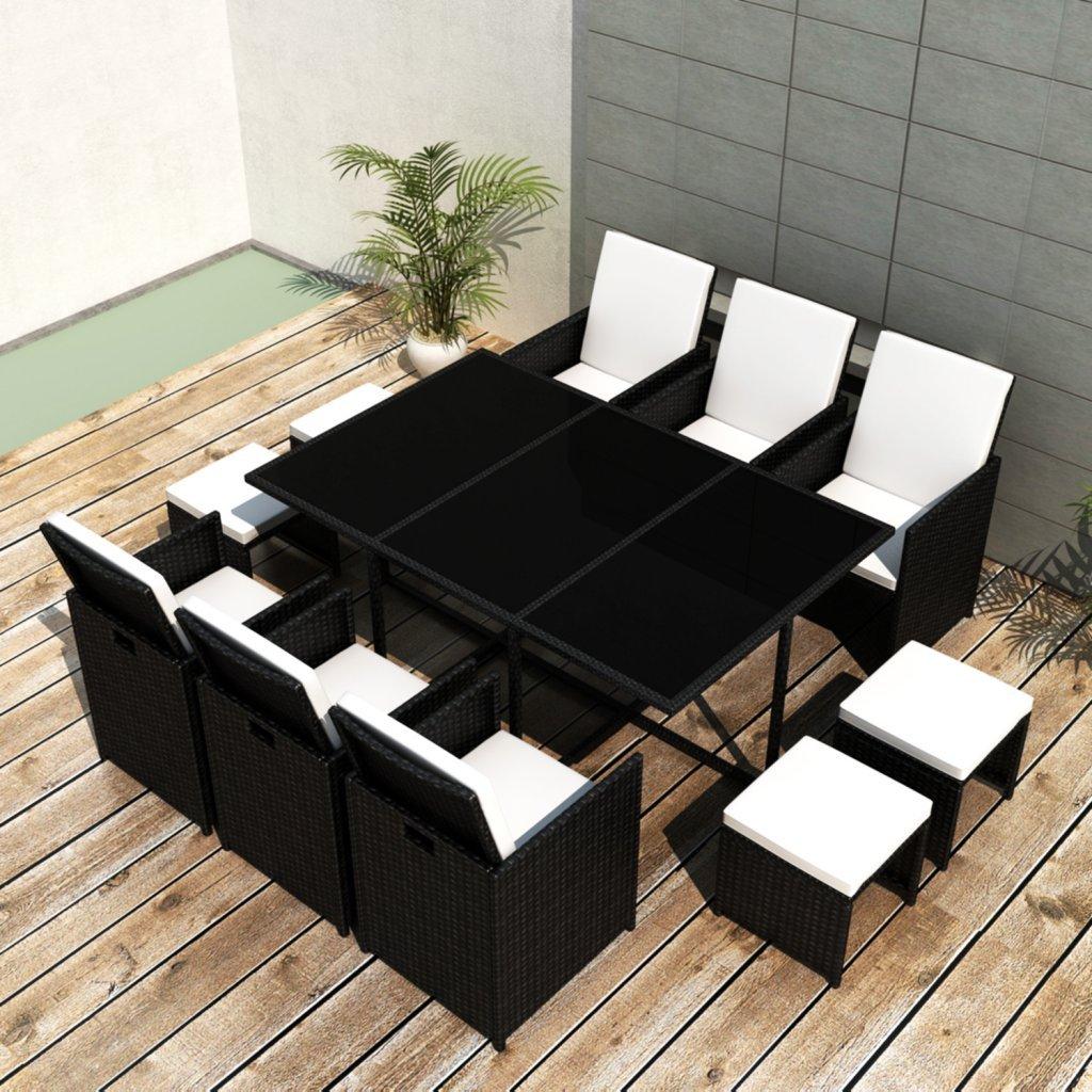 vidaXL Poly Rattan Gartenmöbel Essgruppe 1 Tisch + 6 Stühle 4 Hocker