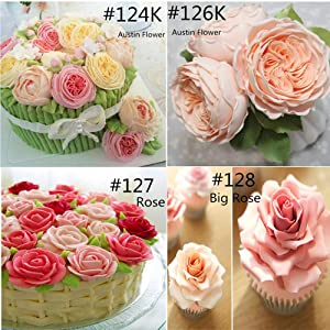 meizhouer 5 Pcs Rose Petal Metal Cream Tips Cake Decorating Tools Steel Icing Piping Nozzles Set Cake Cream Decorating Cupcake Pastry Tool (Color: as picture show)
