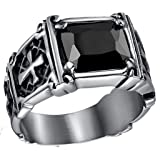 ANAZOZ Rings Stainless Steel for Men Black Cubic Zirconia 12MM Cross Engagement Wedding Rings Size 10 (Color: Black)