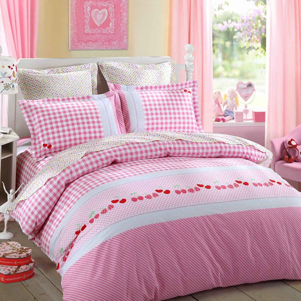 LOVO Kids and the Cherry Grid 100% Cotton 300TC Percale 3pcs Bedding Set Duvet Cover,Flat Sheet and Pillowcase Twin