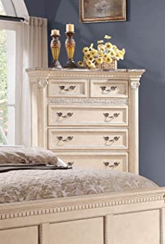 Homelegance Russian Hill Chest With Faux Marble Top In Antique White
