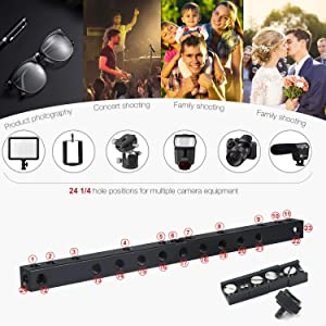 Koolertron 8 Inch Cold Shoe Extension Bar Flash Straight Bracket with 24pcs 1/4 Inch Screw Holes Quad Mount Flash Bracket DIY Freely Assemble fits DSLR Camera LED Light Flash Light Microphone and More