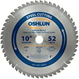 Oshlun SBF-100052 10-Inch 52 Tooth TCG Saw Blade with 1-Inch Arbor (5/8-Inch Bushing) for Mild Steel and Ferrous Metals (Tamaño: 52 Tooth)