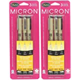 Sakura Pigma 30061 Micron Blister Card Ink Pen Set, Black, Ass't Point Size 3CT Set - 2-Pack (Color: Black, Tamaño: 2-Pack (Ass't Point Size 3CT Set))