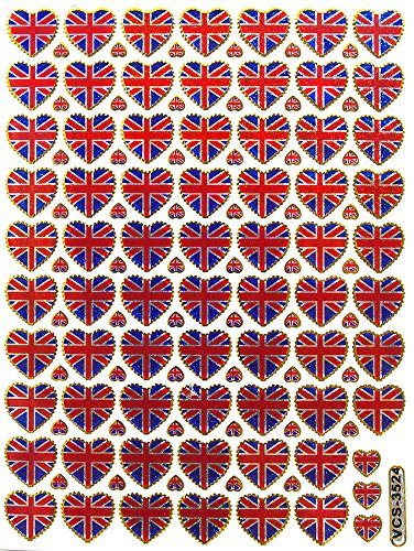 1 Sheet of UK Flag Sticker - Heart Sticker - Scrapbook Stickers - Reflective Stickers - Stickers for Kids - Size 4 x 5.5 Inch./Sheet - 1