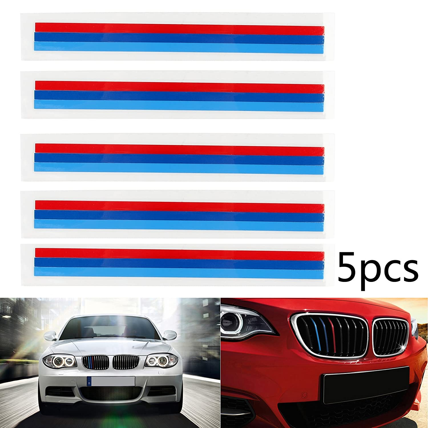 Areyourshop 5pcs Front Grille Grill Vinyl Strip Sticker Decal for BMW M3 M5 E46 E60 E90 E92 цена