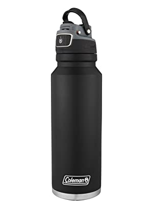 Coleman FreeFlow AUTOSEAL Insulated Stainless Steel Water Bottle, Black, 40 oz. (Color: Black, Tamaño: 40 Oz)