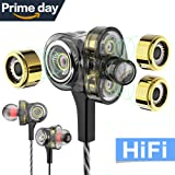 WZK In-ear Headphones Earbuds High Resolution Heavy Bass with Mic for Smart Android Cell Phones Samsung HTC Lg G4 G3 Mp3 Mp4 Earphones (black) (Color: Black)