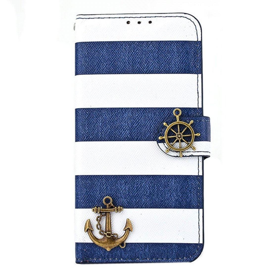 Stripes Anchor Rudder Wallet Flip Case Cover For iphone 6 4.7 Inch (Blue)