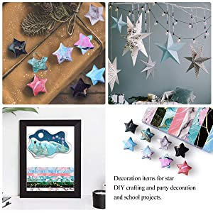 Paperkiddo 800 Sheets Origami Stars Paper 8 Different Designs of Marble Pattern for Paper Arts Crafts Kids Grown-ups School Teachers Folding Origami Star Paper Strips (Color: Marble Strips, Tamaño: 9.5x0.4)