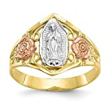 10k Two Tone Yellow Gold Our Lady Of Guadalupe Band Ring Size 6.00 Religious Fine Jewelry For Women Gift Set (Color: 10k Two Tone Yellow Gold Our Lady Of Guadalupe Ba)