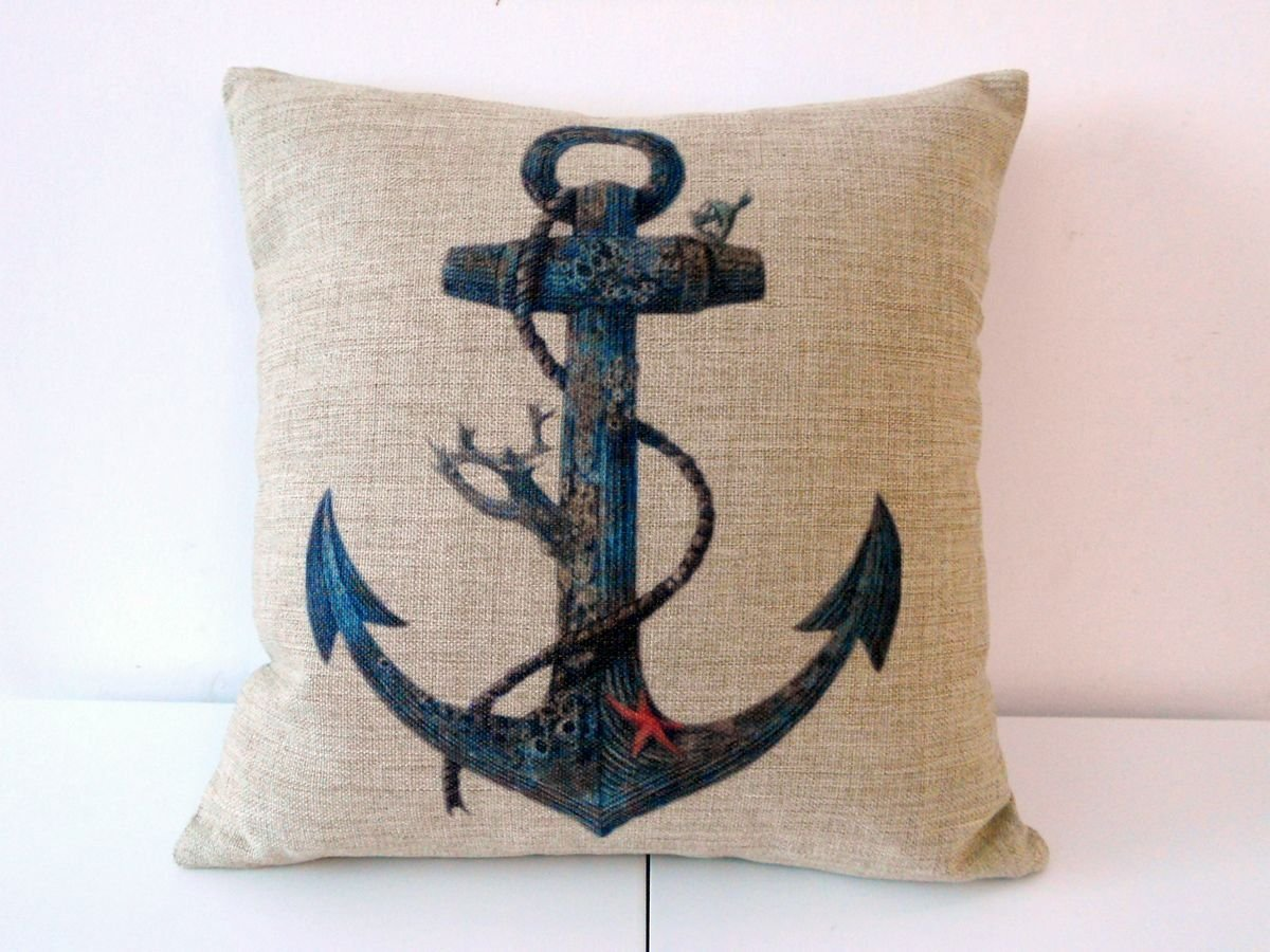 Blue Rusty Anchor with Coral Decorative Pillow Case Cover $5.91 Shipped!