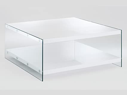 Haku Möbel 87390 Table Basse Verre/MDF Blanc 90 x 90 x 40 cm