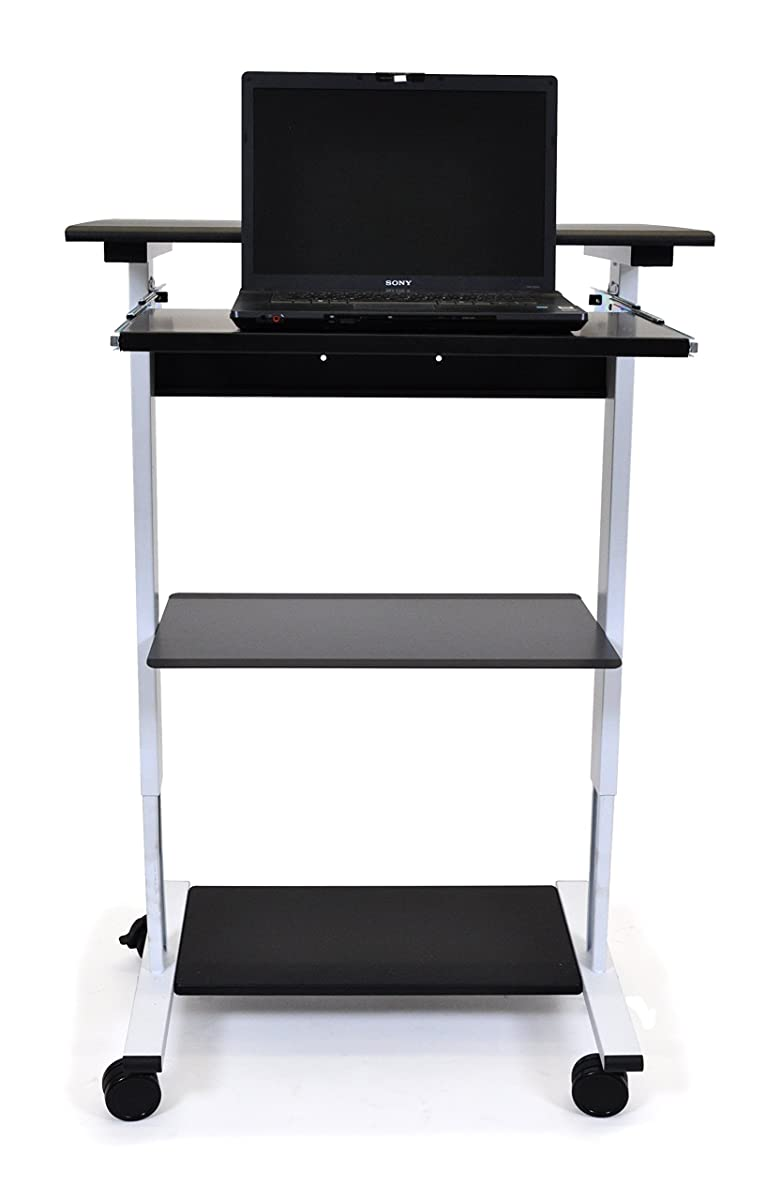 Mobile Adjustable Height Stand Up Workstation (White & Black)