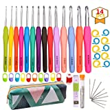 14 Pcs Crochet Hook Set Ergonomic Soft Grip Handles For Extreme Comfort Yarns Knitting Needles Kit with Case for Arthritic Hands 2mm(B)-10mm(N) Extra Long Needles (Color: 14 Sizes Crochet Hook Set)