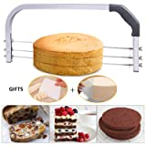 Bonviee Adjustable Cake Leveler Professional Layer Slicer Cutter 3 Blades Stainless Steel Cut Saw with 2pcs Plastic Scrapers for Baking Tools, 18