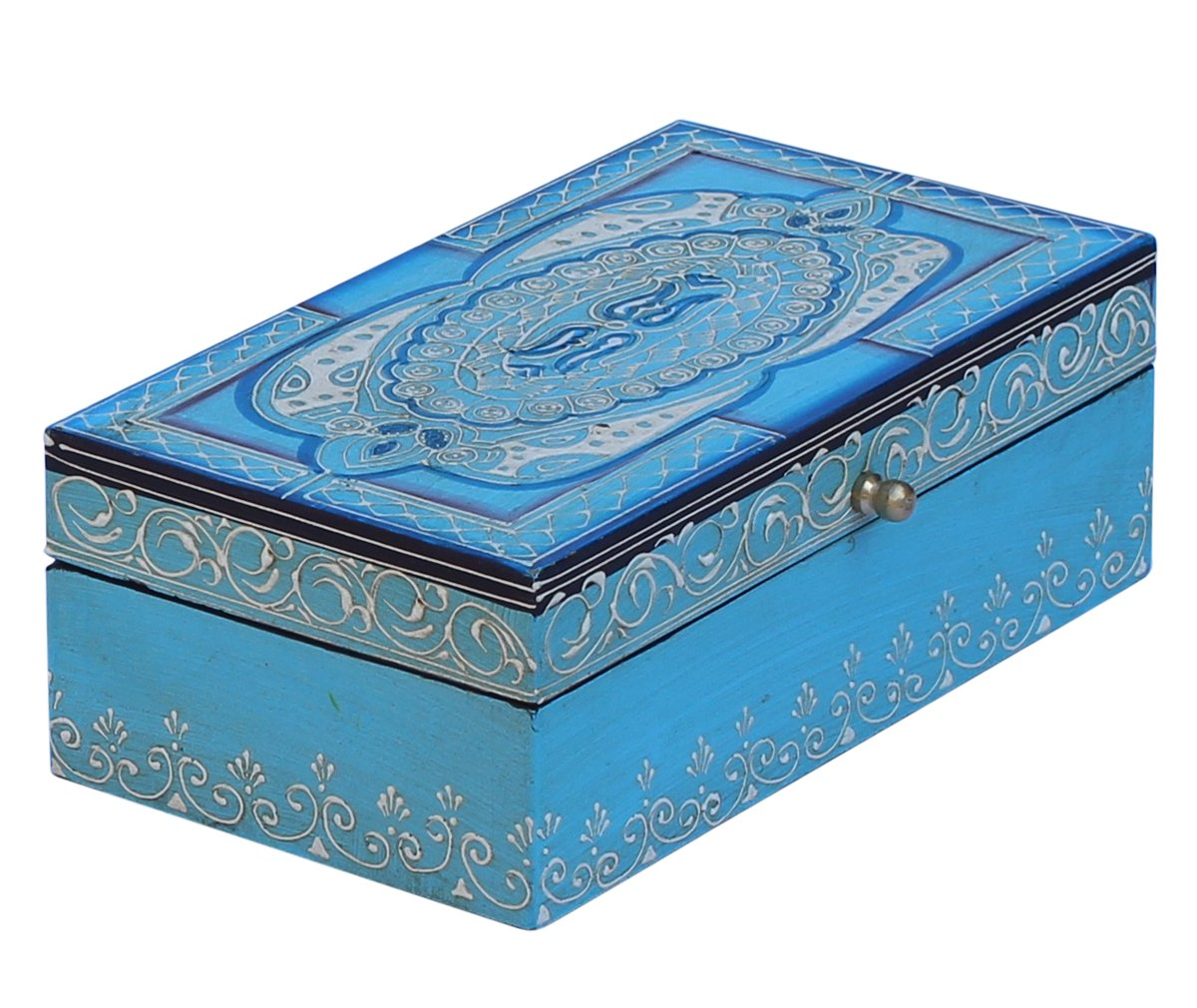 Turquoise Blue Decorative Box - SouvNear Jewelry Box Wooden Stylish Storage Keepsake Box