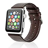 Apple Watch Leather Replacement Band 42mm, Steel Clasp Apple Watch Strap for Apple Watch Series 3 Series 2 Series 1 (Red Stitch) (Color: Red Stitch)