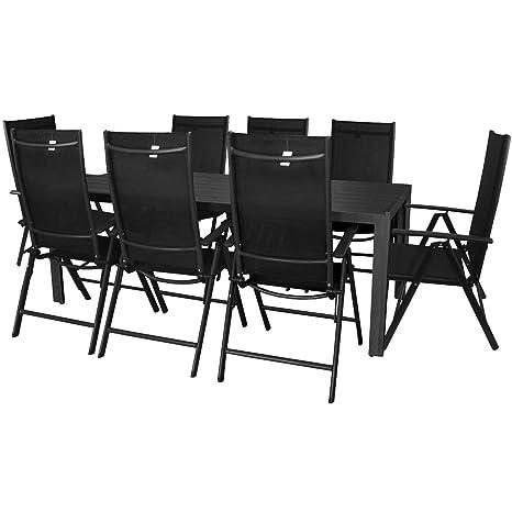 Wohaga® Gartengarnitur Terrassenmöbel Sitzgruppe Aluminium Polywood Gartentisch 205x90cm + 7-Positionen Hochlehner mit 2x2 Textilenbespannung