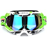 Polarized Sport Motorcycle Motocross Goggles ATV Racing Goggles Dirt Bike Tactical Riding Motorbike Goggle Glasses, Bendable Windproof Dustproof Scratch Resistant Protective Safety Glasses (Green) (Color: Green)