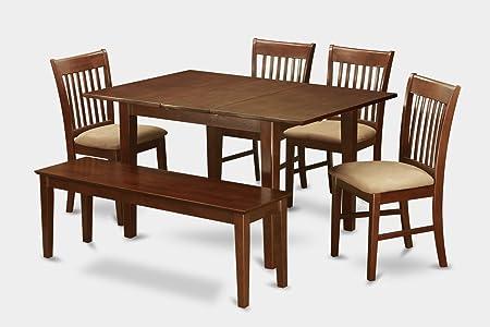East West Furniture MLNO6C-MAH-C 6-Piece Dinette Table Set