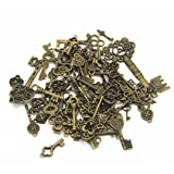 IBS 100 Gram Mixed Antique Skeleton Keys Charms Pendants for Craft Necklace Jewelry Making (Bronze) (Color: Bronze Skeleton Keys)