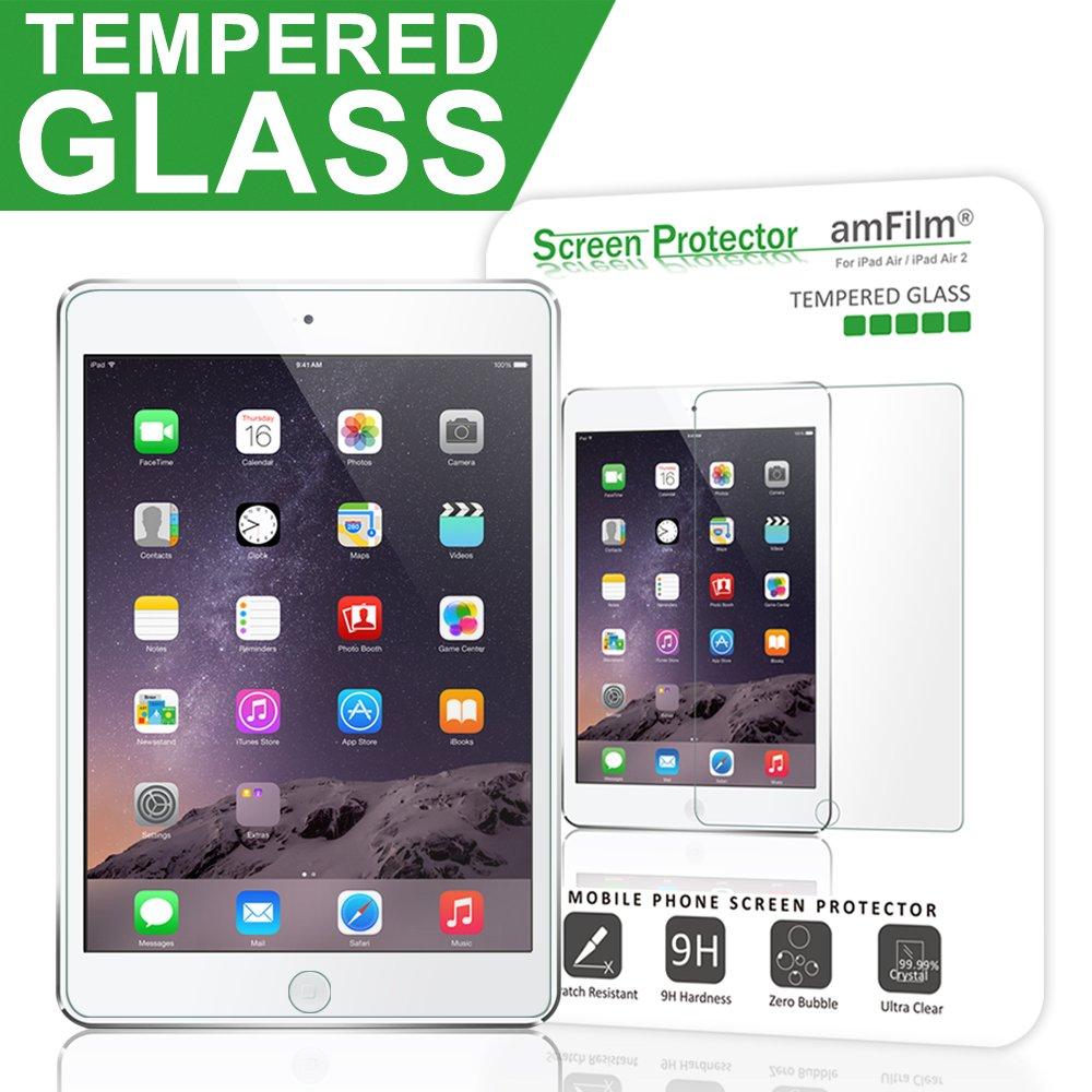 iPad Pro 9.7 Inch / iPad Air / iPad Air 2 Screen Protector Glass, amFilm 0.33m 2.5D Round Edge Tempered Glass Screen Protector for Apple iPad Air 2, iPad Air, iPad Pro 9.7 inch 2016 (1-Pack)
