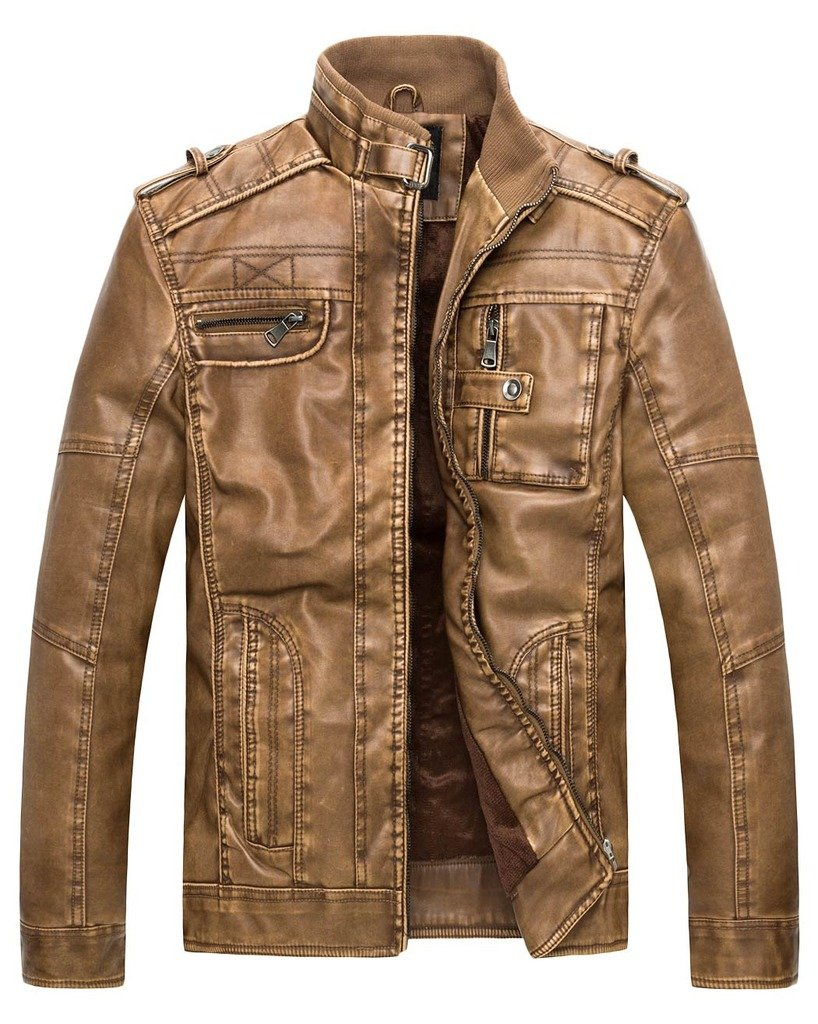 Wantdo Men's Vintage Stand Collar Leather Jacket 0