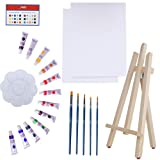 Art Canvas Paint Set Supplies - 22-Piece Canvas Acrylic Painting Kit with Wood Easel, 8x10 inch Canvases, 12 Non Toxic Washable Paints, 5 Brushes, Palette and Color Mixing Guide