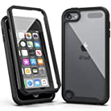 iPod Touch 7 Case,iPod Touch 6 Case,SLMY Armor Shockproof Case with Build in Screen Protector Heavy Duty Shock Resistant Hybrid Rugged Cover for Apple iPod Touch 5/6/7th Generation-Black (Color: Black)