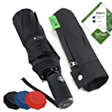 outdew Compact Travel Umbrella Windproof - Unbreakable Double Canopy Construction With Teflon Coating Auto Open Close Button umbrellas (Color: black, Tamaño: One_Size)