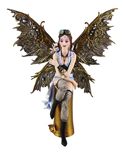 11.38 Inch Aviator Steampunk Large Winged Fairy Statue Figurine