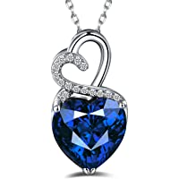 Caperci Sterling Silver Created Gemstone Double Heart Pendant Necklace