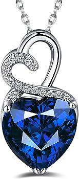 Caperci Sterling Silver Gemstone Heart Pendant Necklace