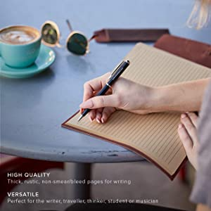 Leather Journal Writing Notebook - Lined Pages + Pen Holder. Handmade Genuine Leather Notepad For Men & Women. Paper 8 x 6 Inches. Great Travel Diary. Perfect Gift For Men & Women. (Color: Brown (Lined Pages), Tamaño: 8.75 x 6)